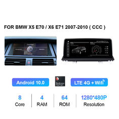 Android 10.0 CIC System 1280x480 DVD GPS Carplay Navigation For BMW X5 E70